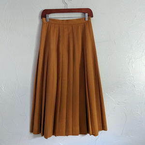 Vintage Mustard Color Midi Pleated Skirt